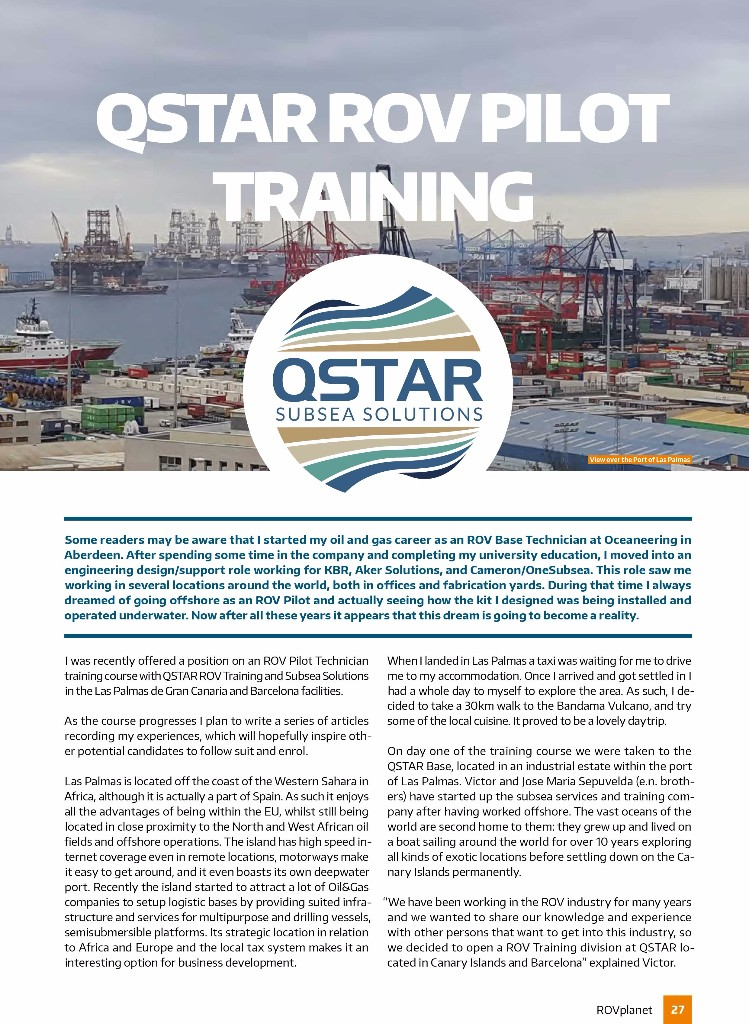 QSTAR ROV TRAINING EN LA REVISTA INTERNACIONAL ROV PLANET MAGAZINE